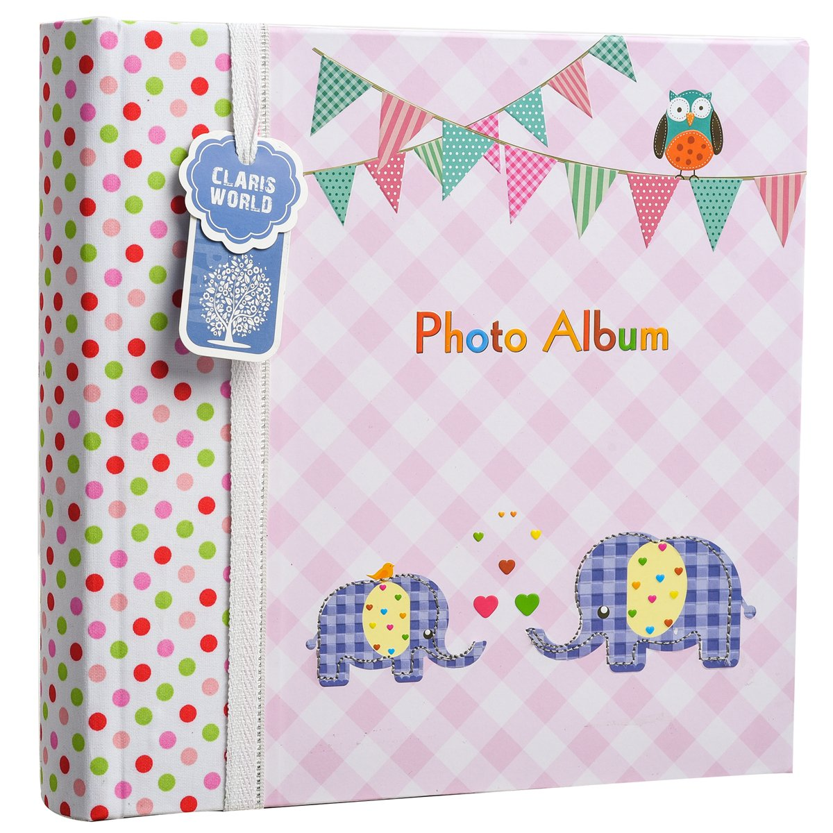 Apan 6x4'' Large Baby Boy or Girl Slip In Case Memo Photo Album For 200 Photos - Ideal Gift (Pink Elephant Kids) ARPAN BA-9857