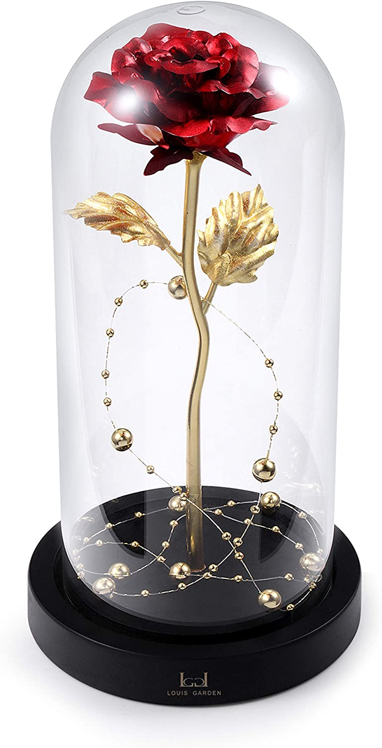 Beauty and The Beast Rose Kit, Red Gold Foil Rose and Led Light with Golden Beads in Glass Dome on Wooden Base for Home Decor Holiday Party Wedding Anniversary