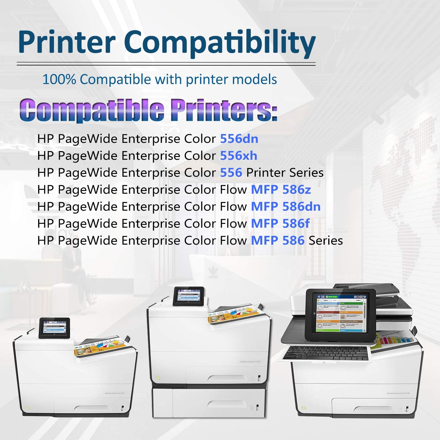 2 Pack Black High Yield 556dn 556xh 556 MFP 586z MFP 586dn MFP 586f MFP 586 Series Printers Ink Cartridge Replacement for HP 981X Ink Cartridge