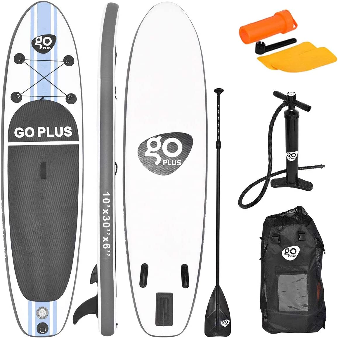 Goplus Inflatable Stand up Paddle Board Surfboard SUP Board with Adjustable Paddle Carry Bag Manual Pump Repair Kit Removable Fin for All Skill Levels, 6 Thick