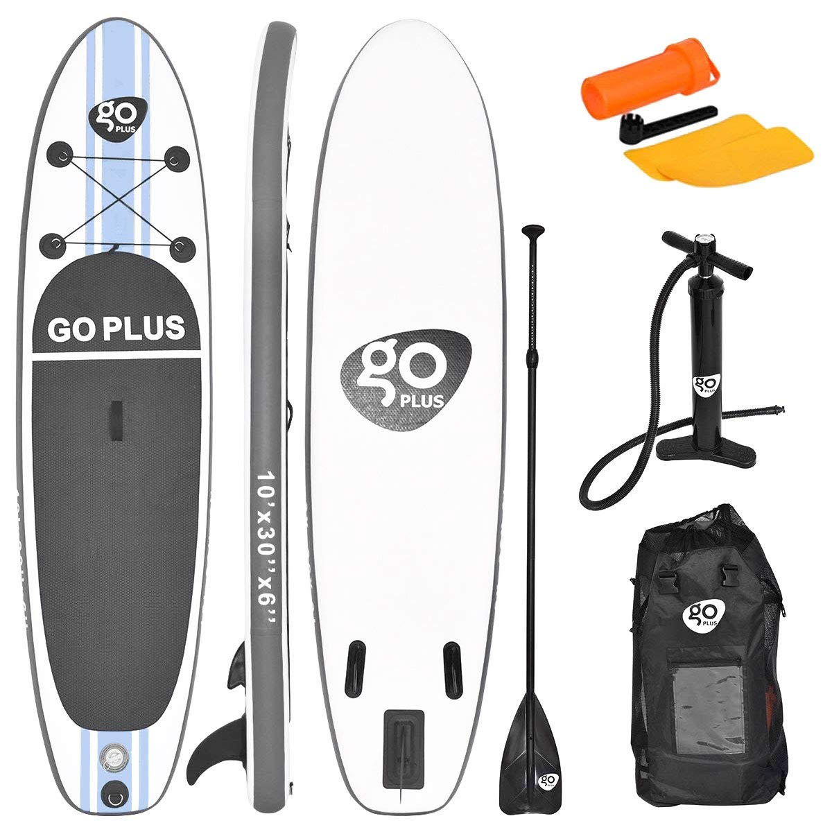 Goplus Inflatable Stand up Paddle Board Surfboard SUP Board with Adjustable Paddle Carry Bag Manual Pump Repair Kit Removable Fin for All Skill Levels, 6'' Thick (White, 10FT)