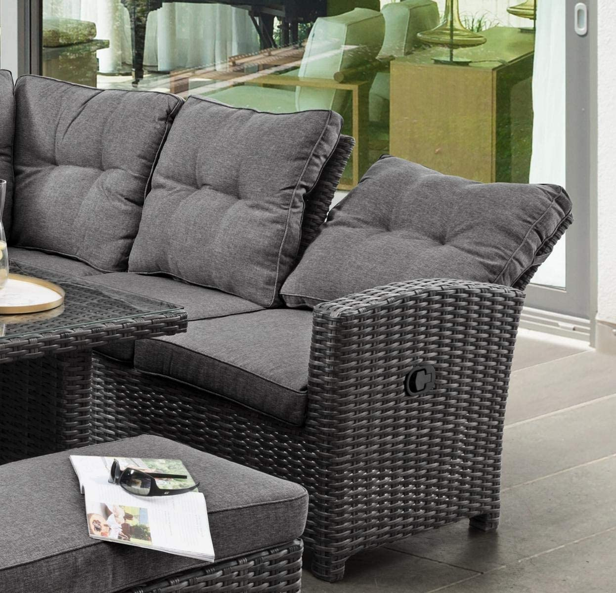 Destiny Loungegruppe Santa Ponsa Deluxe Grau Lounge Sitzgruppe Sofaset Polyrattan Vario