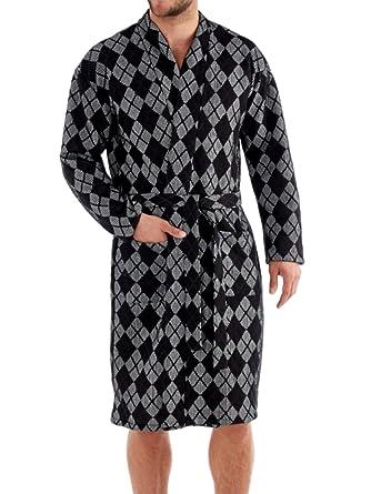 4ddfc2e29a Men s Harvey James Terry Cotton Diamond Robe Dressing Gowns Black-XL ...