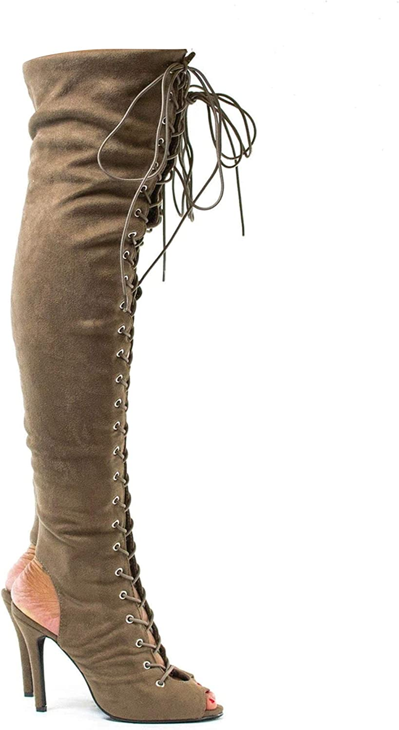 Details about  /Women Over The Knee Boots Stiletto High Heels Peep Toe Black Night Club Shoes