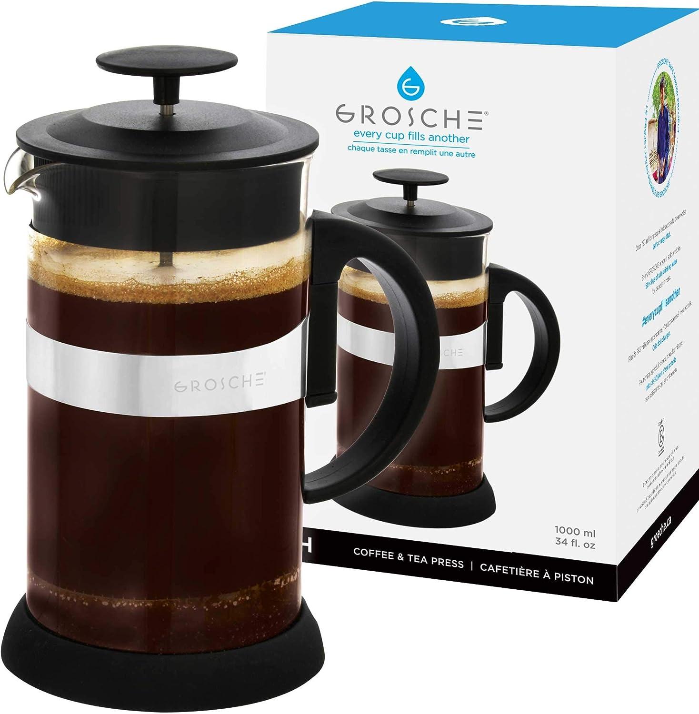 GROSCHE Zurich Cafetera de émbolo Para Café y Té (1000 ml): Amazon ...
