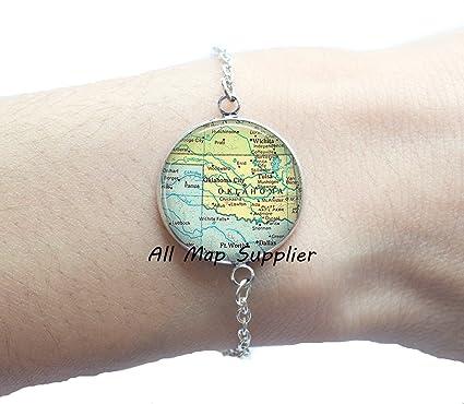 Oklahoma Bracelets,A0004 state map jewelry Charming Bracelet Oklahoma map Bracelets Oklahoma map Bracelet