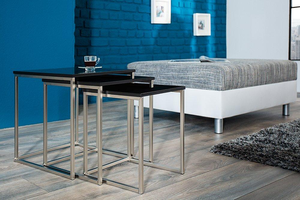 Invicta Interior Design Beistelltisch 3er Set FUSION matt schwarz ...