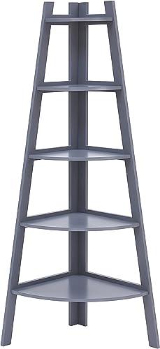Danya B. BQ0279GR Decorative 5-Tier A-Frame Corner Ladder Bookcase Standing Open 5-Shelf Unit Gray Finish
