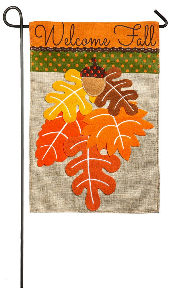 """Evergreen Welcome Fall Leaves Double-Sided Burlap Garden Flag - 12.5""""W x 18'' H"""