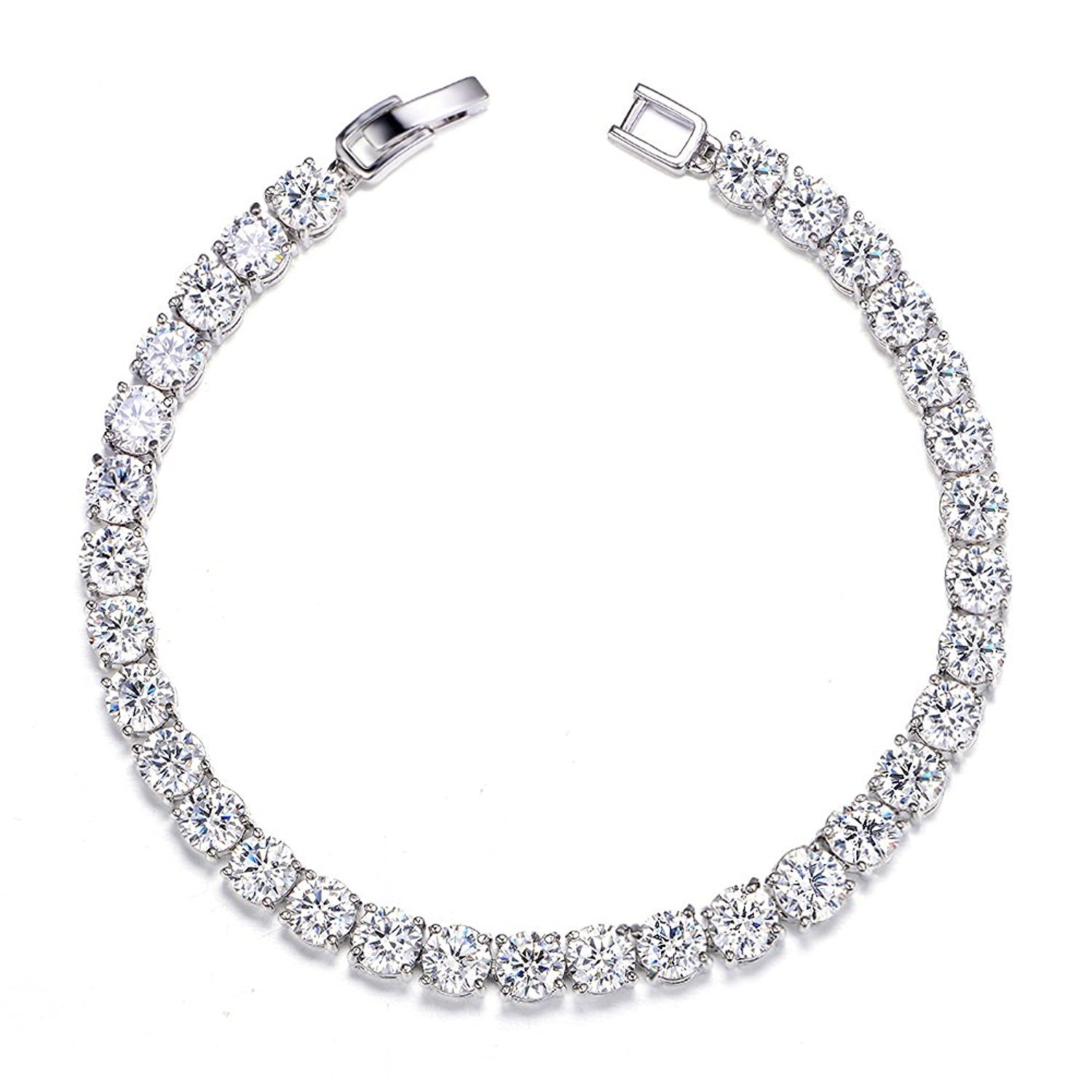 Meetyoo Tennis Bracelet With Swarovski Elements Crystal Jewelry Women Lady Zirconia Platinum Plated Bangle for her by Meetyoo (Image #5)
