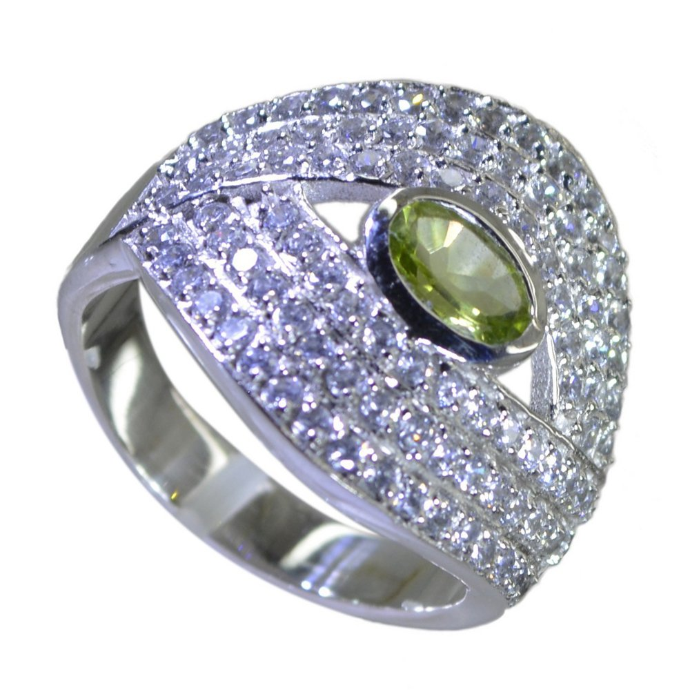 Jewelryonclick Genuine Peridot Silver Cluster Engagement Rings For Women Gift In Size 5,6,7,8,9,10,11,12