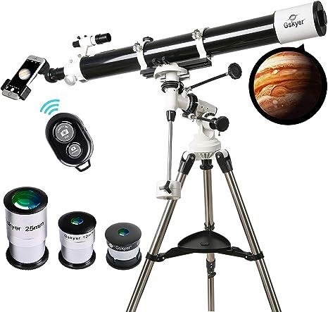 Telescopio de 90 mm Astronomy Refractor Telescopios con Adaptador de Smartphone & Bluetooth Cámara Remoto Niños Educativo y Regalo: Amazon.es: Electrónica