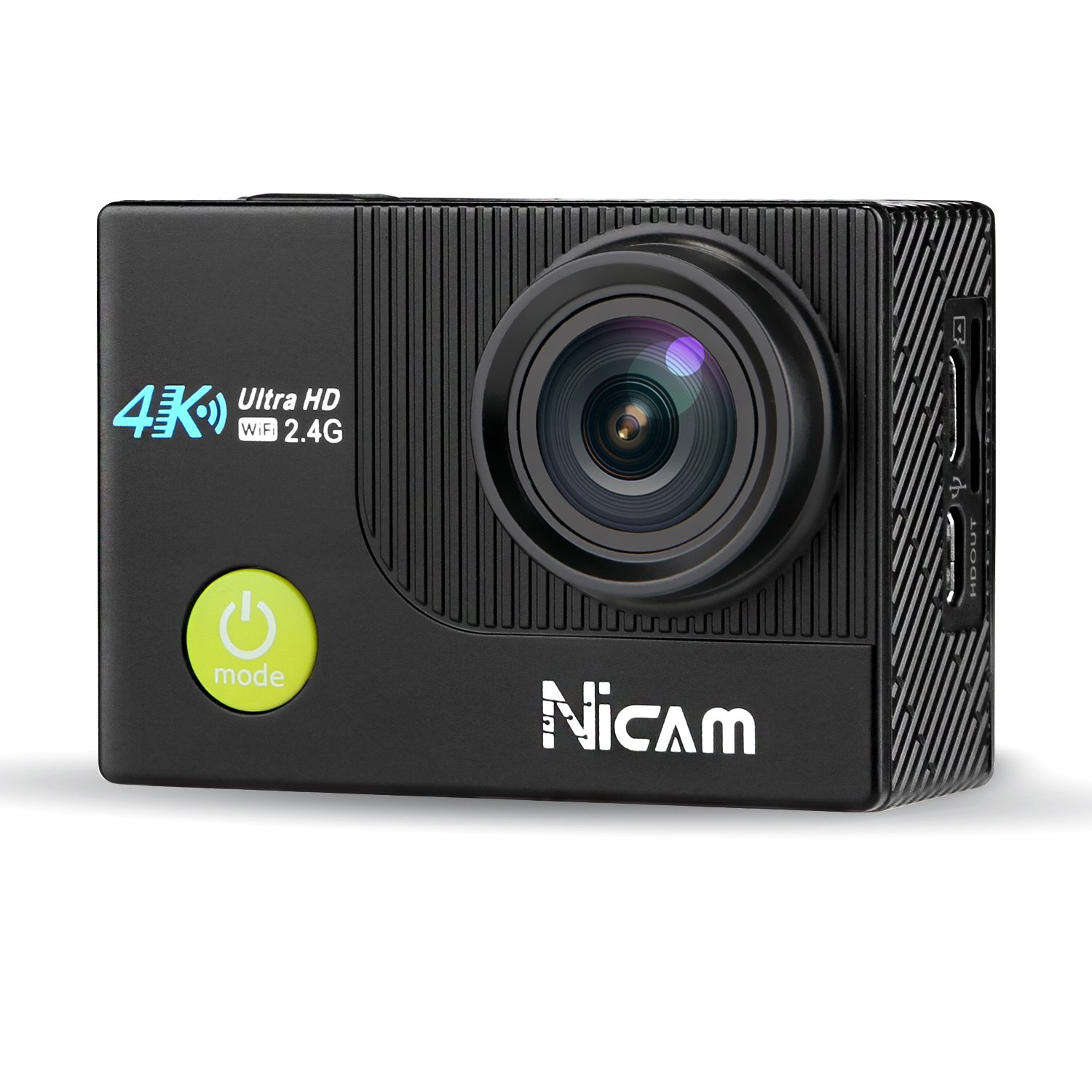 Nicam 4K WiFi Sports Action Camera Ultra HD Waterproof DV Camcorder, 12MP 170 Degree Wide Angle with 2 x 1050 mAh Batteries, Selfie Stick and Portable Carry Bag