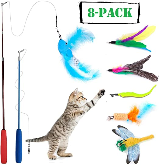 Wineecy [8 in 1] Gato Juguete Interactivo Cat Varita, 2 Varita Retráctil con 6 Plumas de Ave, Libélula, Pescado para Gatos y Gatitos: Amazon.es: Productos para mascotas