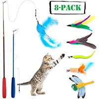 Wineecy [8 in 1] Gato Juguete Interactivo Cat Varita, 2 Varita Retráctil con 6 Plumas de Ave, Libélula, Pescado para…
