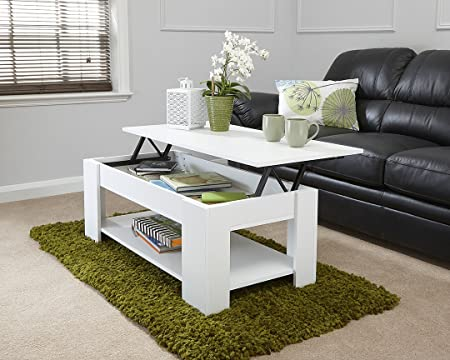 MODERN CONTEMPORARY EXCLUSIVE WHITE LIFT UP COFFEE TABLE LIVING ROOM CENTRE  TABLE LARGE STORAGE AREA U0026