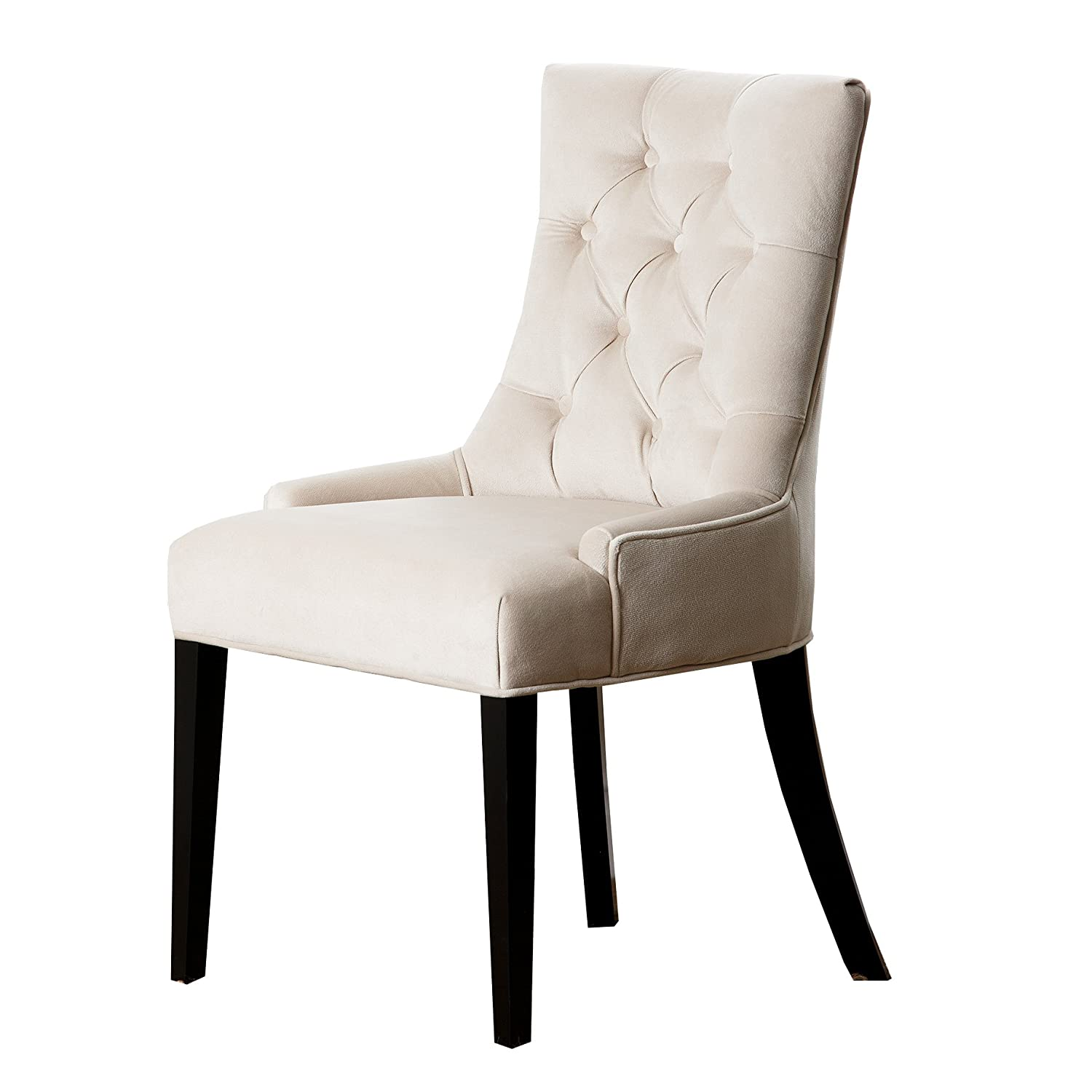 amazoncom abbyson zuma cream microsuede tufted dining chair chairs