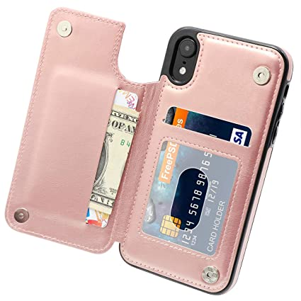e1147c521dc4 Amazon.com: MMHUO for iPhone XR Case with Card Holders, Premium PU ...