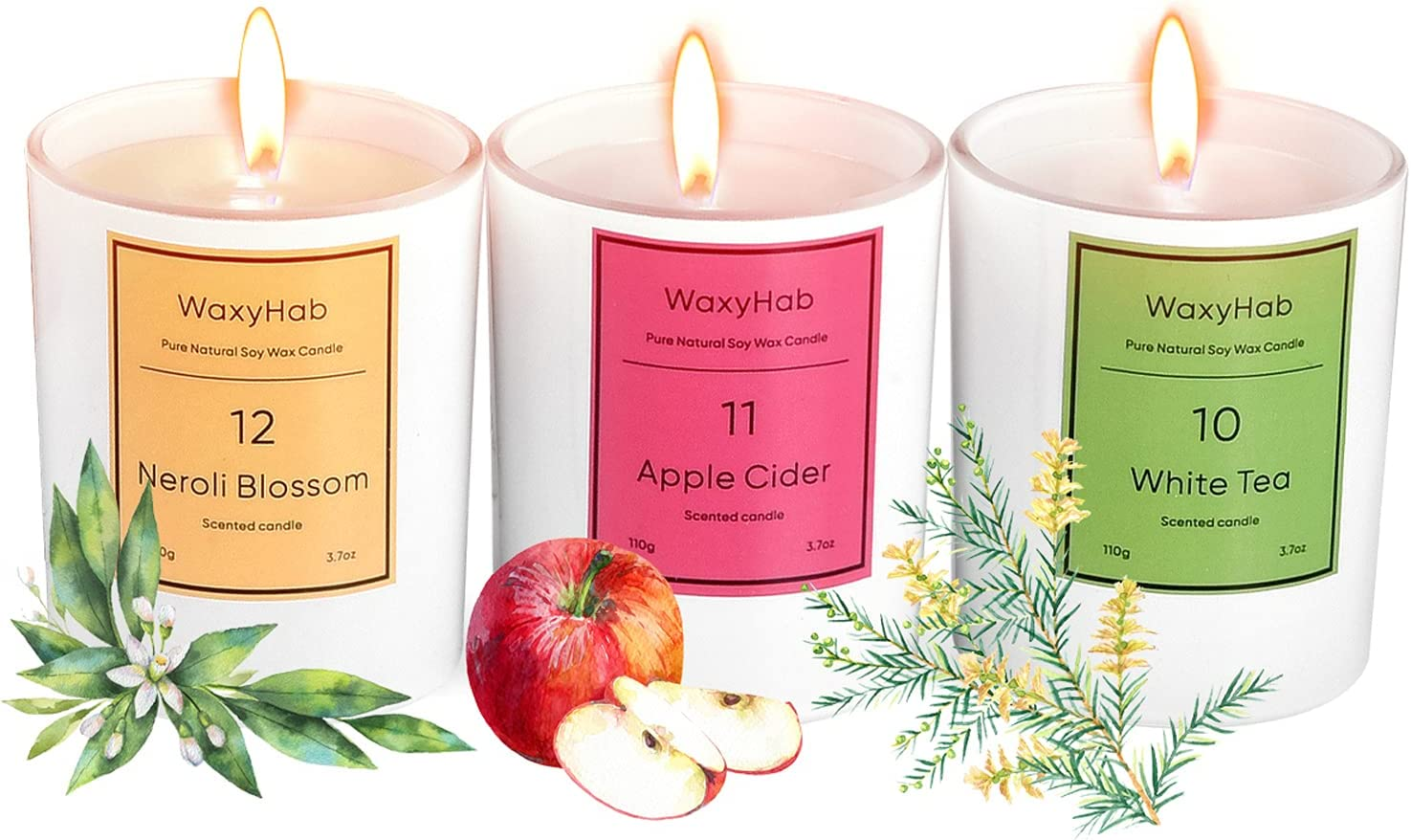 WaxyHab Jar Candle 3pcs, Aromatherapy Candle,Soy Candle,Apple Cider + White Tea + Neroli Blossom All Natural Scented Candles 3.7 oz ×3 | 18 Hour Burn, Long Lasting ,Highly Scented