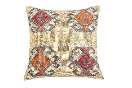 Buy Indian Vintage Jute Kilim Cushion Cover Decorative Rug Pillow ...