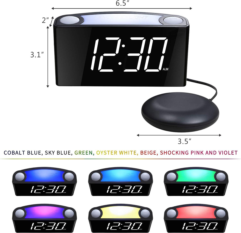 Zwei USB-Ladeanschl/üssen f/ür schwere Schl/äfer Geh/örlosen gro/ßem LED-Display mit Dimmer ROCAM Lauter Wecker mit vibrierendem Shaker-Bett 7-farbigem Nachtlicht Blau H/örgesch/ädigten Senioren