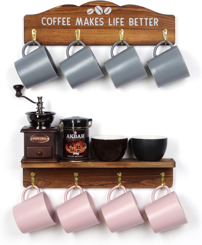 J JACKCUBE DESIGN Coffee Mug Rack Set of 2, Wall Mounted Wooden Mug Holder Organizer with 8 Gold Hooks & Coffee Sign for Home Kitchen Cafe Decor - MK737A (Wood)