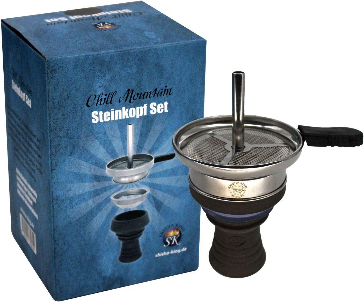 Shisha King® - Cabezal para shisha Premium con cabezal de piedra y accesorios para chimenea, incluye mango de goma + colador para la cabeza, mucho humo, sabor intenso (azul)