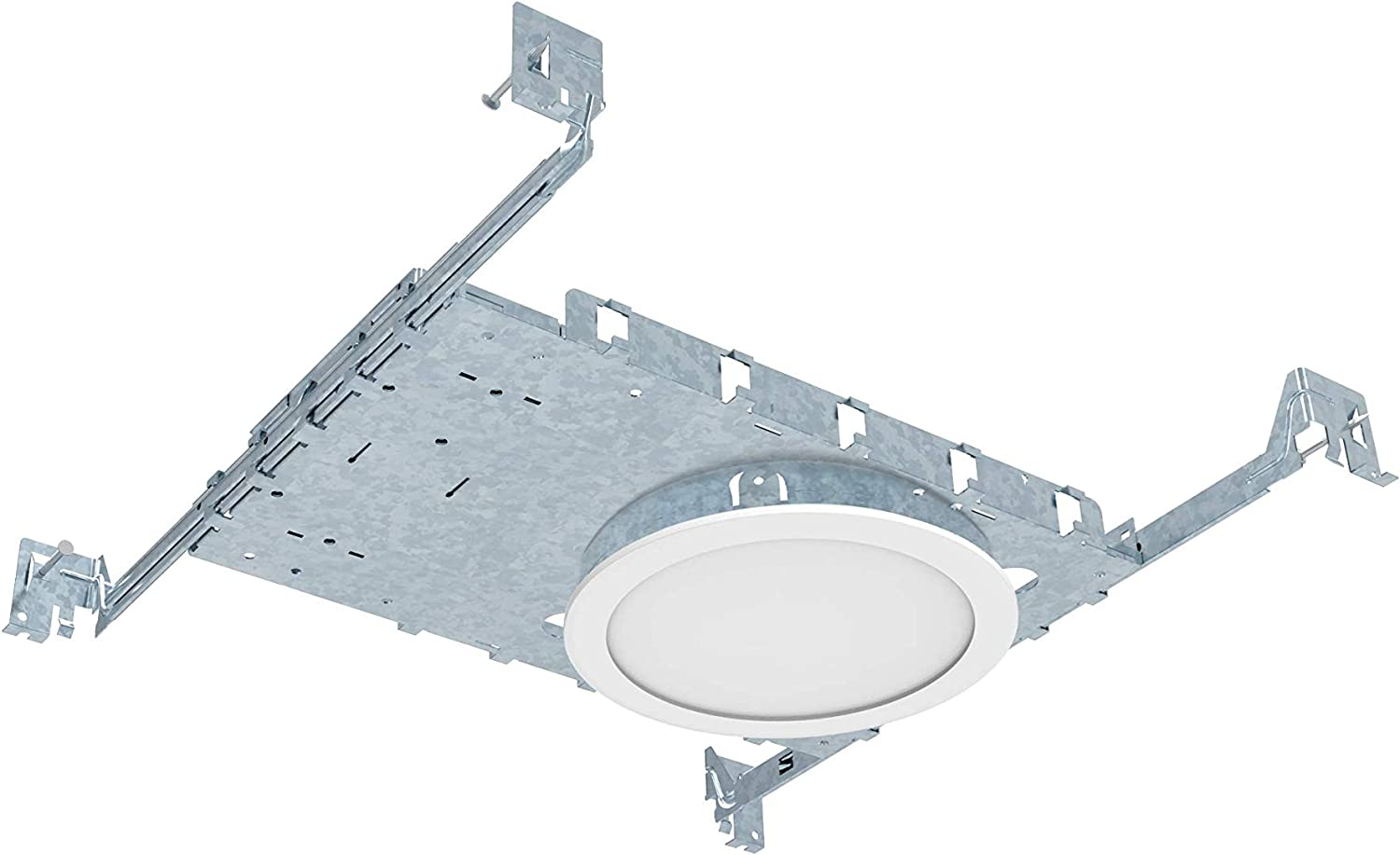 Hanger Bars and Re New Construction Recessed Lighting 4 inch 6W LED Dimmable Full kit 8 pack pot lights includes 8 electrical boxes and 1 Single Pole dimmer switch and 1 wall plate no Housing required Certified and IC rated Kit includes Mounting Plate