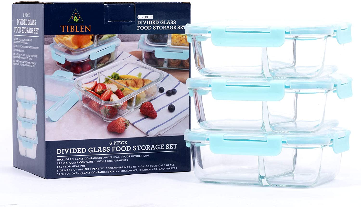 TIBLEN 3-Pack (34 oz each) 2 Compartment Divided Glass Food Storage Airtight & Leakproof Containers Set with Snap Lock Lids, Safe for Dishwasher, Oven, Microwave,Freezer, BPA Free