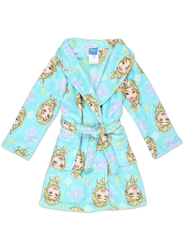 Disney Frozen Elsa Girl's Fleece Bathrobe Robe (10, Elsa Blue)