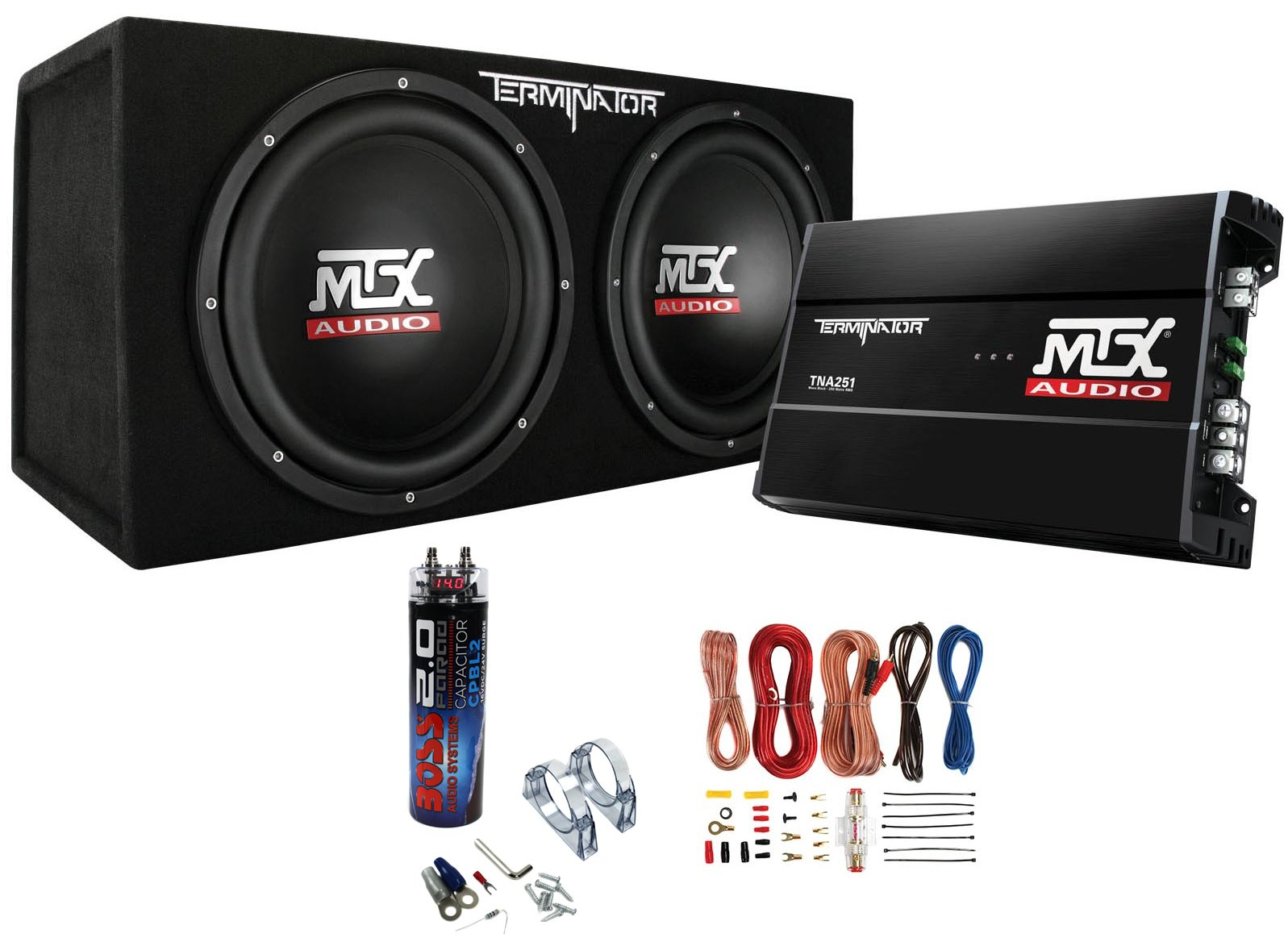 MTX Dual 12'' Subwoofers and Amplifier Package w/ Wiring Kit & 2 Farad Capacitor
