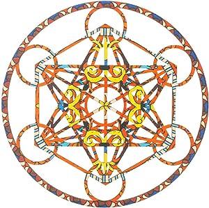Metatron's Cube Crystal Grid – Sacred Geometry Wall Art & Home Decor – Wooden Wall Sculpture, Meditation & Energy Balance – Poplar Wood – for Office, Yoga Studio (Bohemia Brown, 11.5 Inch (29CM))