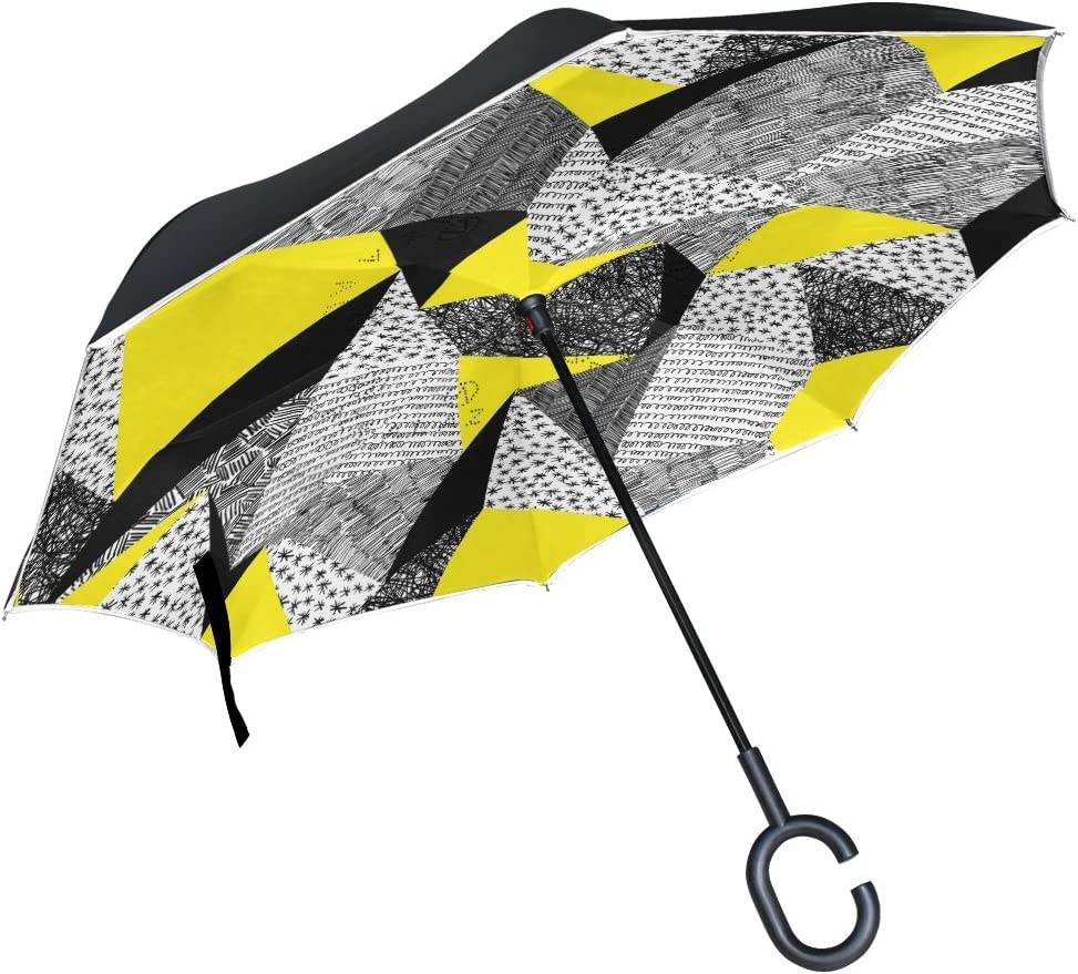 AHOMY Inverted Reverse Umbrella Geometry Square Dots Windproof for Car Rain Outdoor