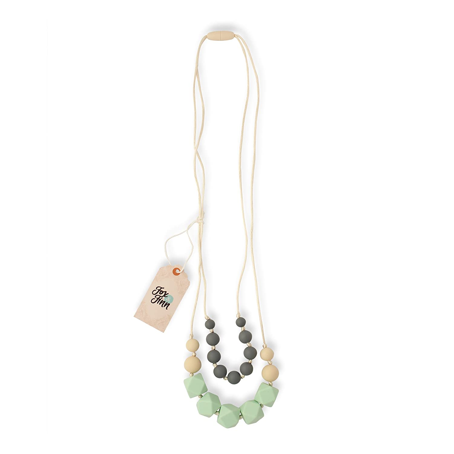 Fox & Finn 'Isabella' Silicone Teething Necklace for Babies   Safety  Knotted Silk Rope   Does Not Pull Hair Out   14 Inch Drop (mint + smoke +  latte)