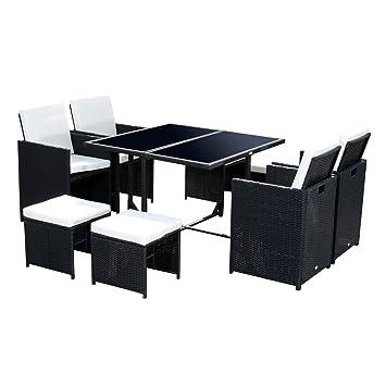 ensemble salon de jardin encastrable 8 places 4 fauteuils monoblocs 4 tabourets coussins dhoussables table plateau - Ensemble Salon De Jardin