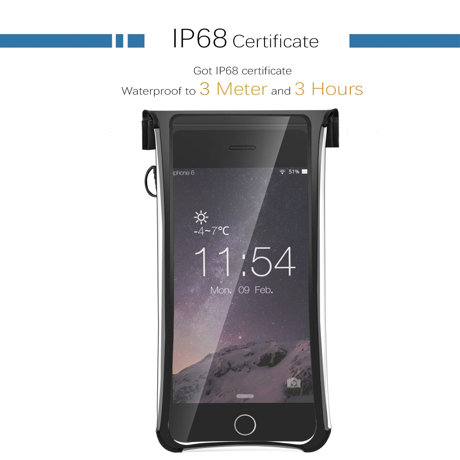 iFASCINATE Waterproof Case, Universal Waterproof Phone Case with Transparent Side Windows for iPhone 7 Plus, 7, 6S, 6,Samsung Note 5 Device under 5.7\'\'