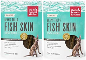 The Honest Kitchen Beams Fish Skin Treat - Dehydrated Grain Free Fish Skins Dog Chew, Talls 12 oz