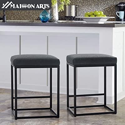 24 Inch, Brown MAISON ARTS Counter Height Bar Stool 24 for Kitchen Counter Backless Industrial Stool Modern Upholstered Barstool Countertop Saddle Chair Island Stool,330 LBS Bear Capacity,1 Stool
