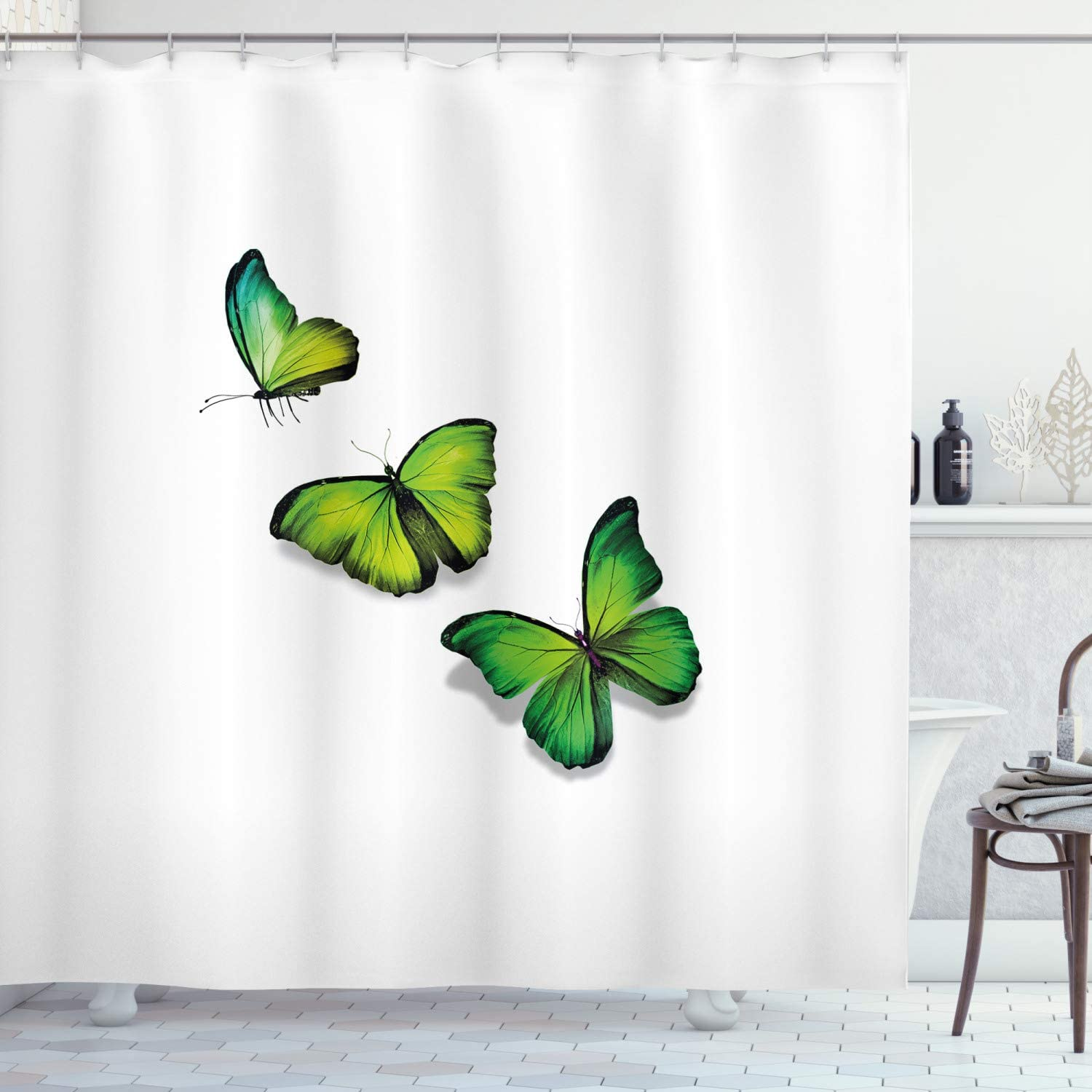 """Ambesonne Green Shower Curtain, 3 Vibrant Butterflies on White Backdrop Spring Nature, Cloth Fabric Bathroom Decor Set with Hooks, 75"""" Long, Lime Green"""