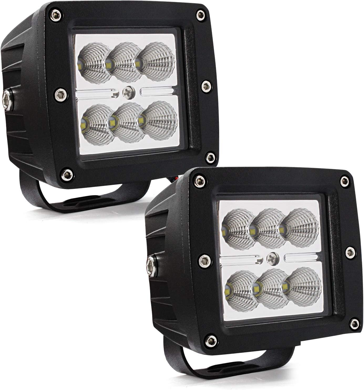 3 LED Pods Light Bar,Cube LED Flood Off Road Fog Lights Driving Work Lights with Wiring Harness 24W 12V 24V for Cars Trucks Jeep Boats
