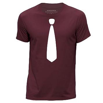 Stuff4 Hombres/Medio (M)/Borgoña/Cuello Redondo de la Camiseta ...