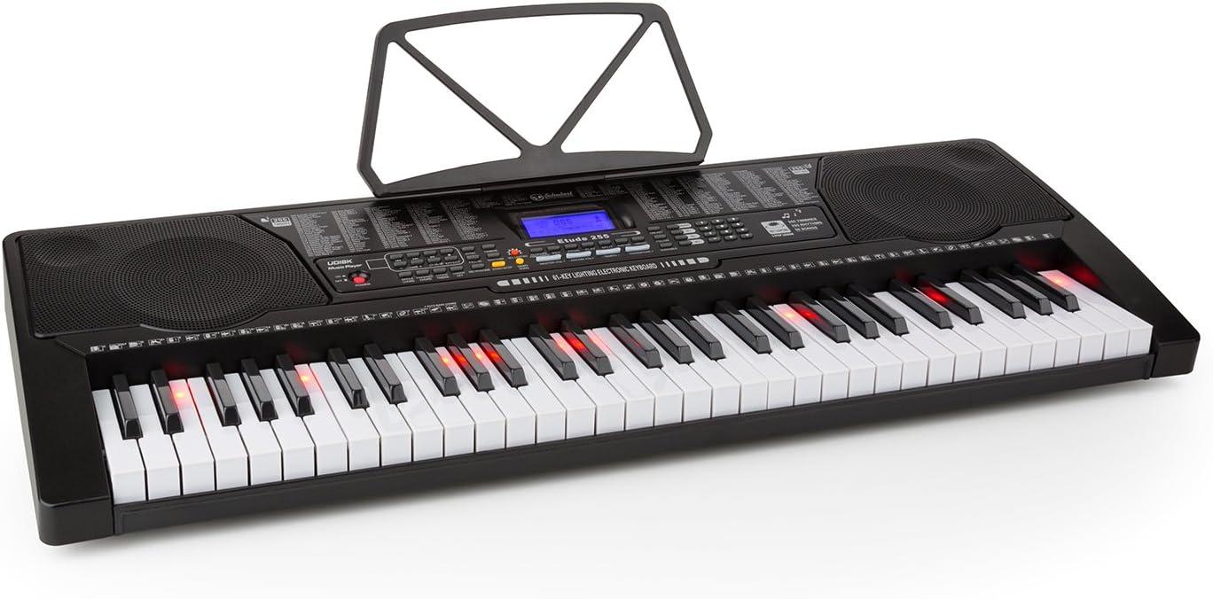 Schubert Etude 225 USB - teclado, teclado de aprendizaje, 61 teclas, teclas de luz, función de grabación y reproducción, 3 modos de aprendizaje, USB, ...
