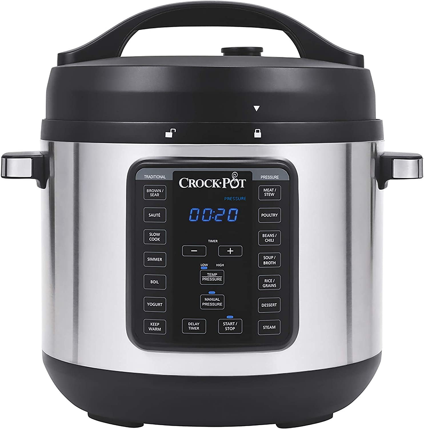 Crock-Pot 8-Quart Multi-Use XL Express Crock Programmable Slow Cooker and Pressure Cooker with Manual Pressure, Boil & Simmer, Stainless Steel | ⭐️ Exclusive