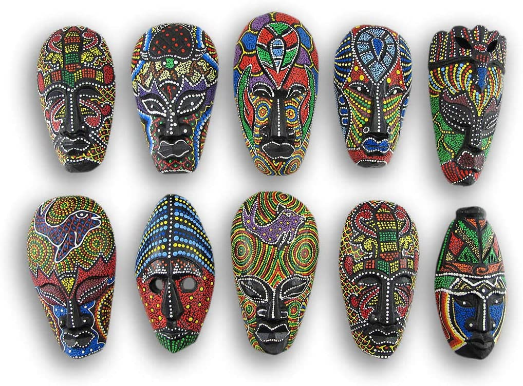 Things2Die4 Set of 10 Colorful Hand Carved Tropical Island Dot Painted Tribal Masks 6 1/2 Inches High Wall Hangings