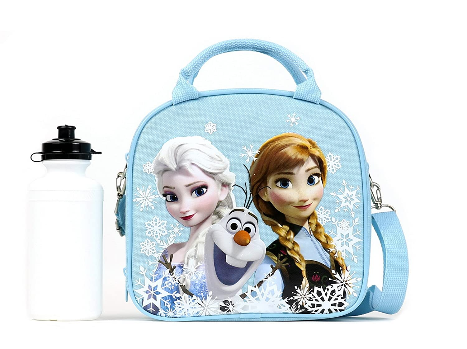 Disney Frozen Lunch Box Carry Bag with Shoulder Strap and Water Bottle