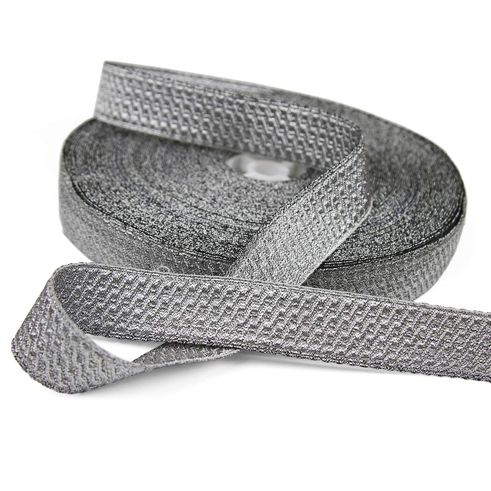 5 Yards of Morrow 1 Geometric Bullion Braid Trim Pale Silver
