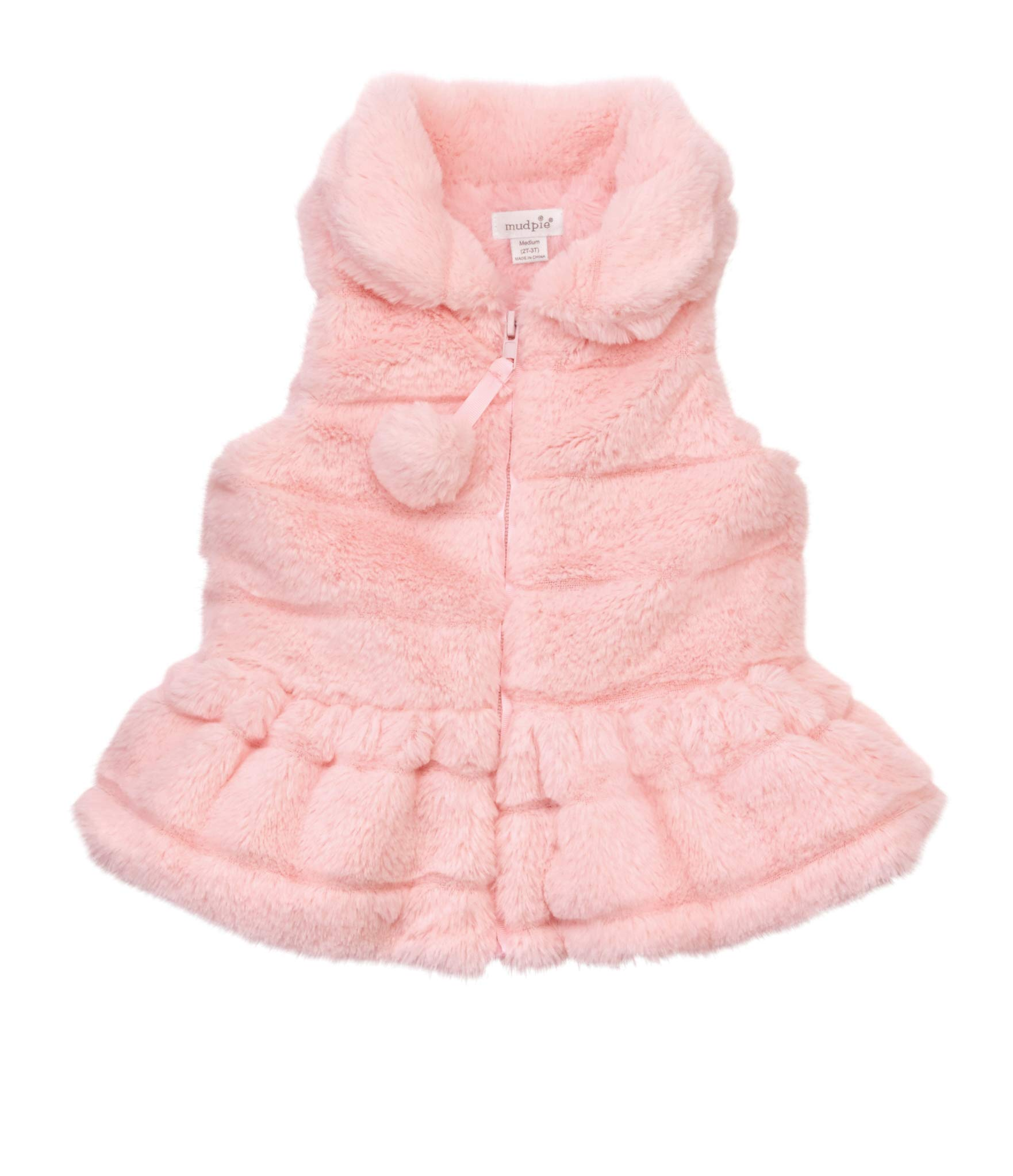 Mud Pie Baby Girl's Ruffle Fur Vest (Infant/Toddler) Pink Small by Mud Pie