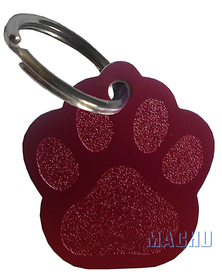 MACHU - Médaille forme empreinte patte chien couleur ARGENT personnalisable - 2, 8 cm X 2, 6 cm - convient à chien MOYEN - GRAVURE profonde et soignée offerte.