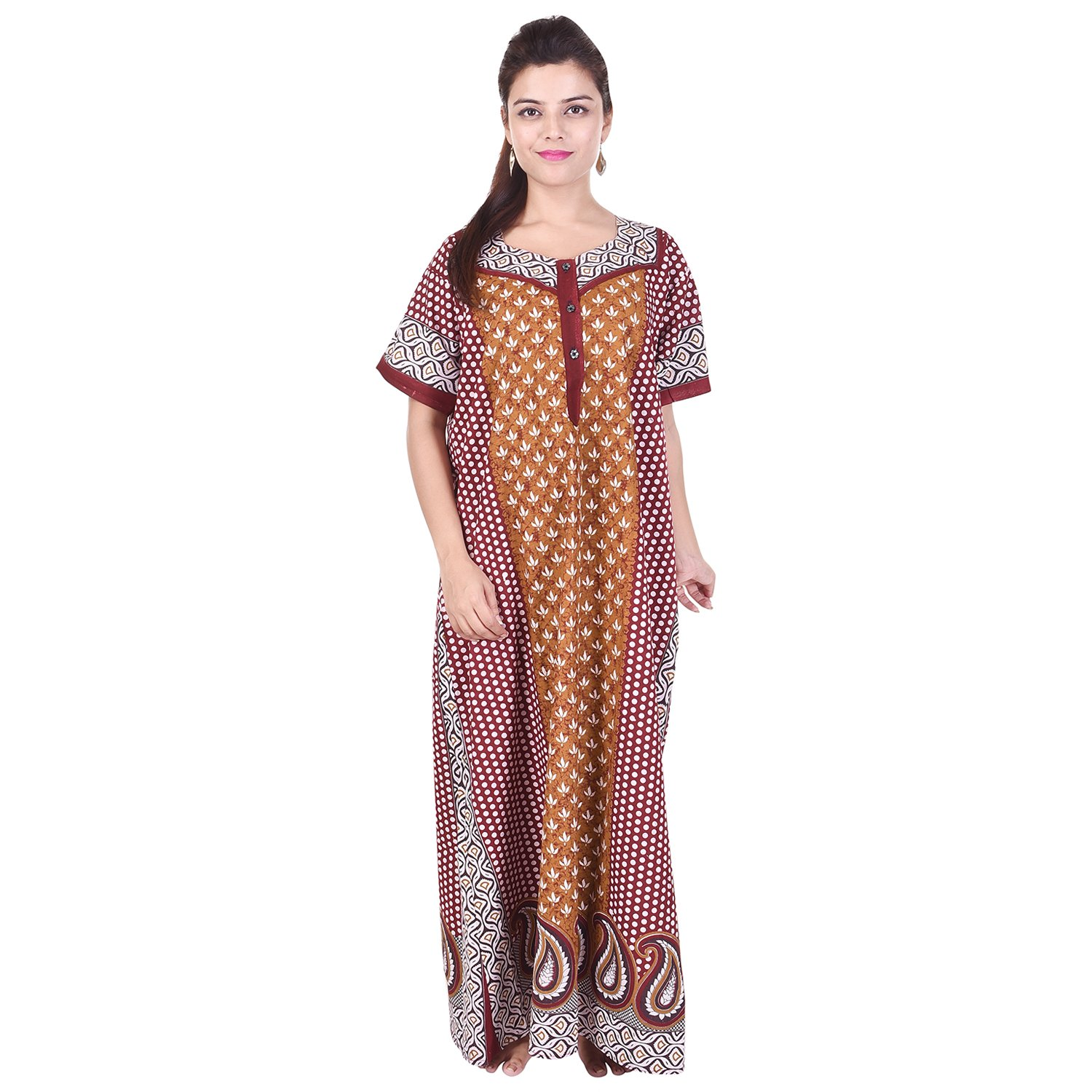 classic style of 2019 new products modern design Silver Organisation Women's Cotton Maxi Gown (SON_0845 _Multicolor_ Free  Size)