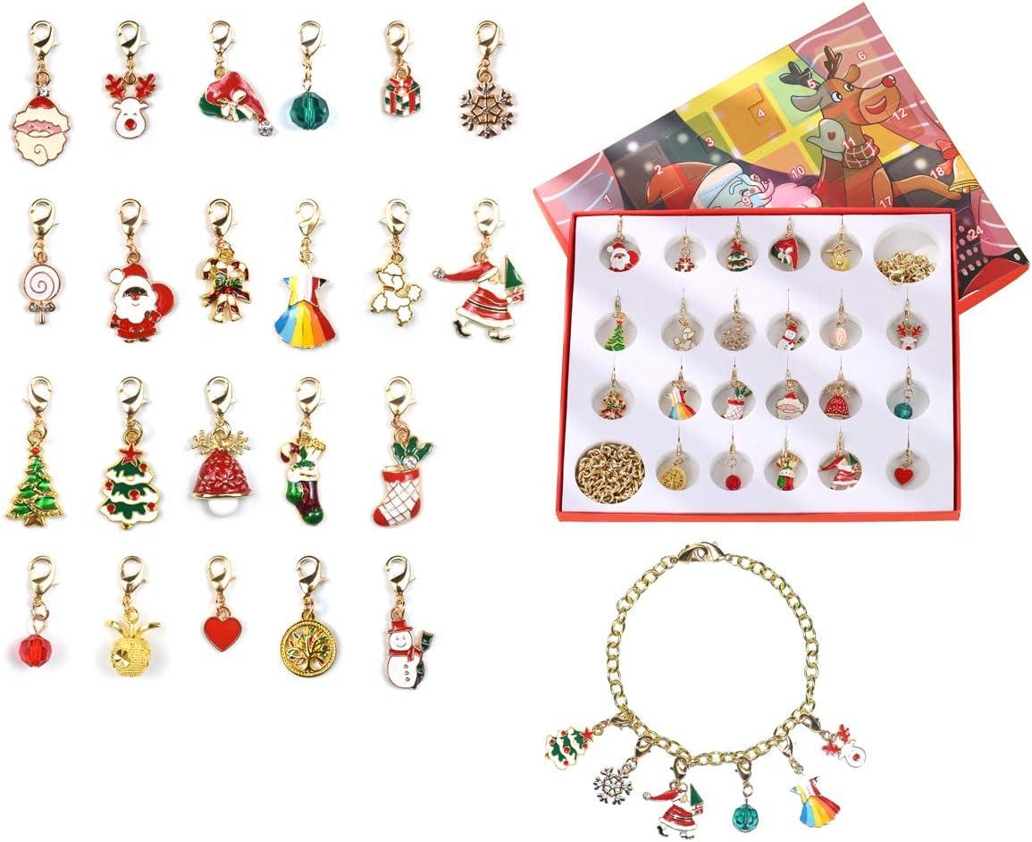 OUKE Christmas Calendar Countdown,Advent Calendar 2020 Christmas,Santa Snowman Reindeer Small Miniature Christmas Tree Ornaments,Xmas Surprise Gift Set for Daughter Teens Girl Kids (Gold)
